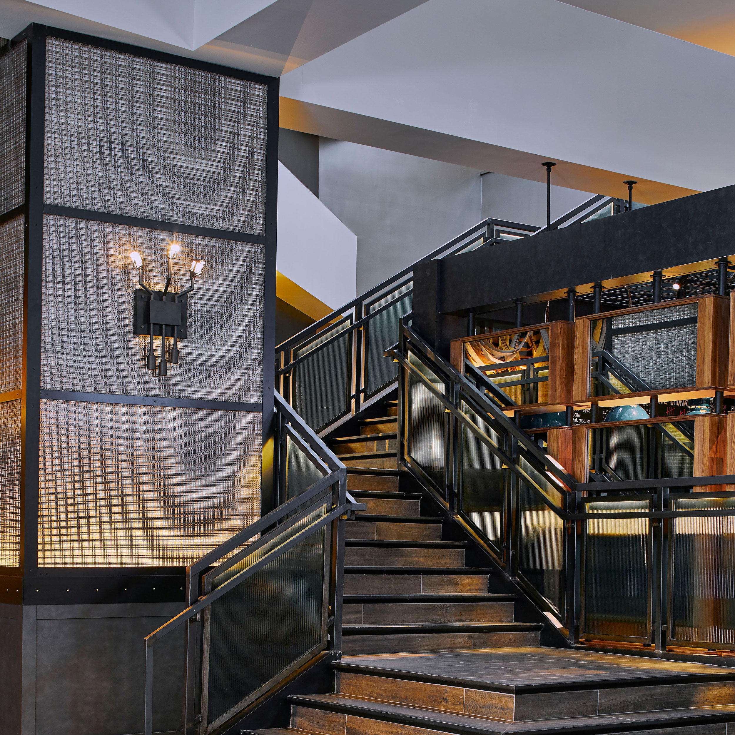The intricate Banker Wire woven wire mesh pattern, SJD-21, is as functional as it is beautiful in the Renaissance Nashville Hotel and Conference Center.