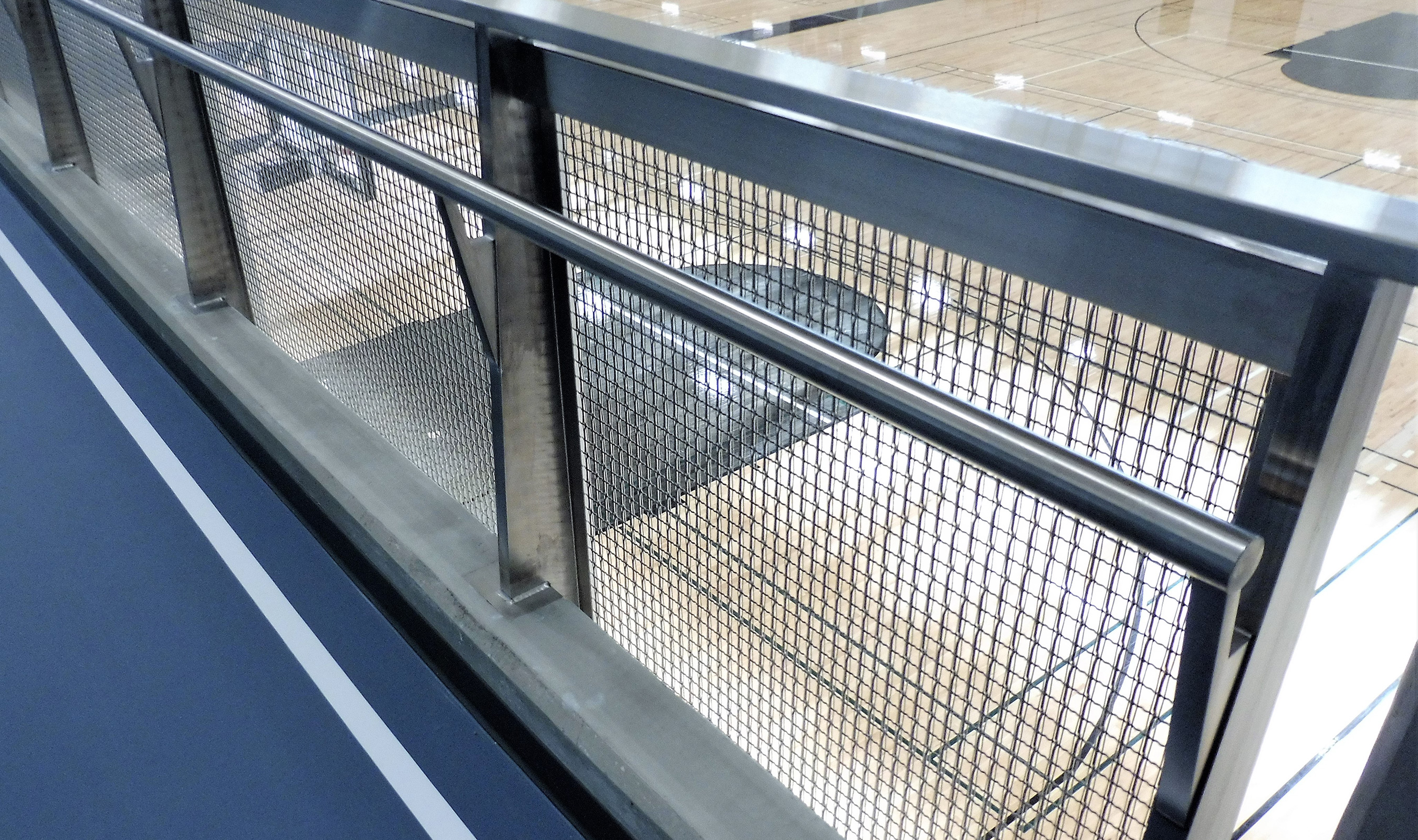 Banker Wire's SJD-7 is a well-chose addition as railing infill at this YMCA facility for it's large percent open area and rigidity.
