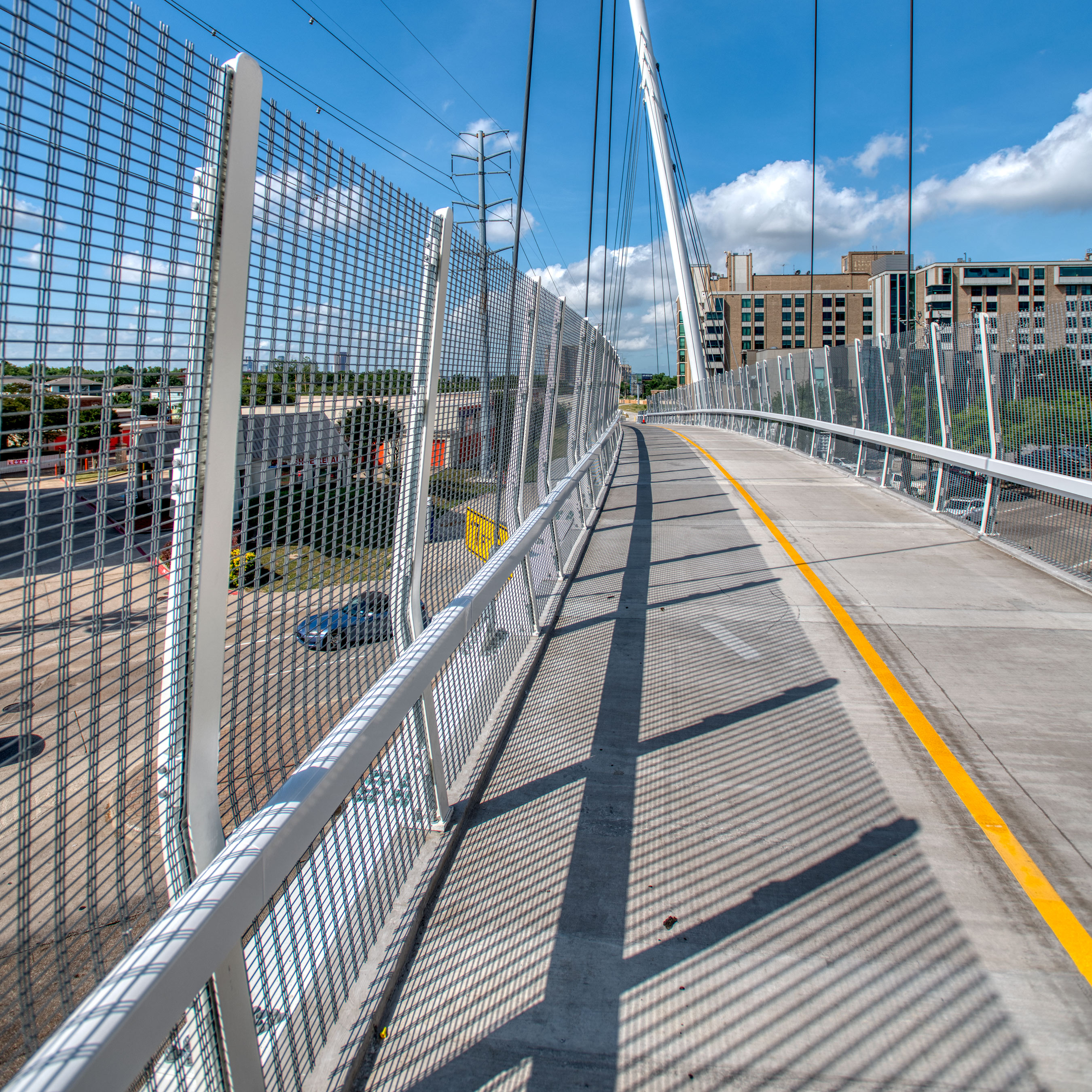 Banker Wire's M13Z-146 is an all-purpose woven wire mesh pattern who's large percent open area is well suited for the Mockingbird Bridge in Dallas, Texas.
