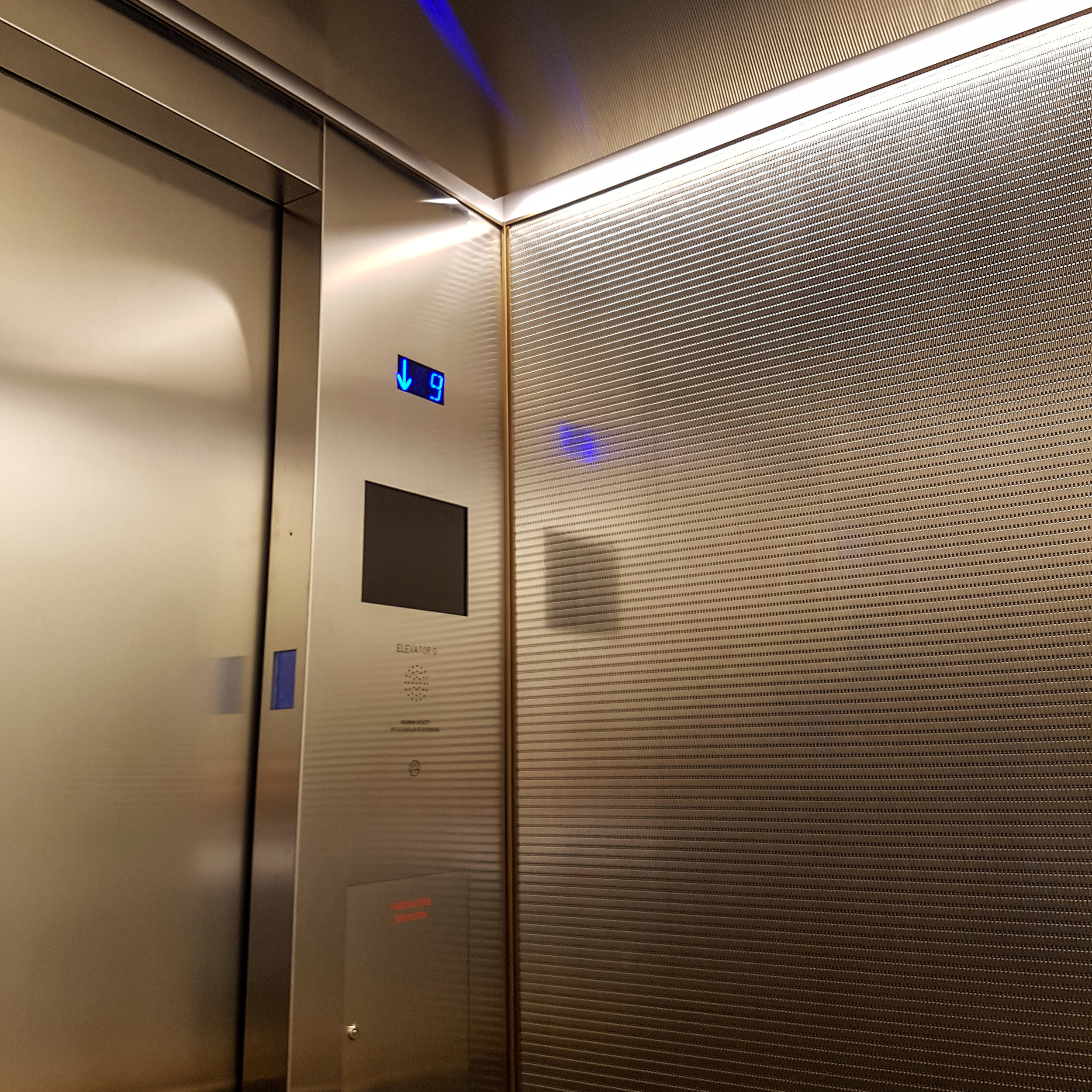 One York Street in Toronto utilizes Banker Wire's DS-55 in stainless steel for elevator cladding.