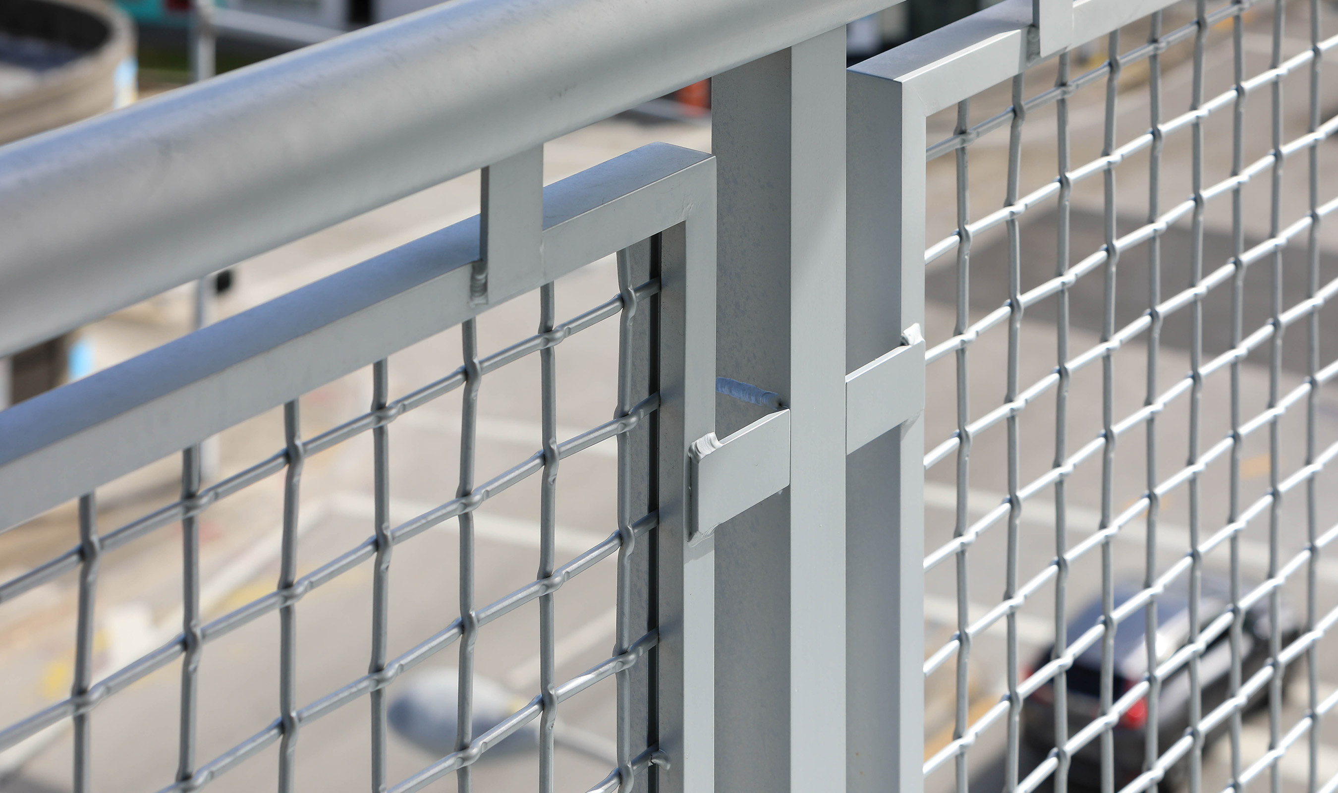 Banker Wire's L-64 woven in aluminum and powder coated is a great combination for exterior balcony railing when corrosion resistance is desired.