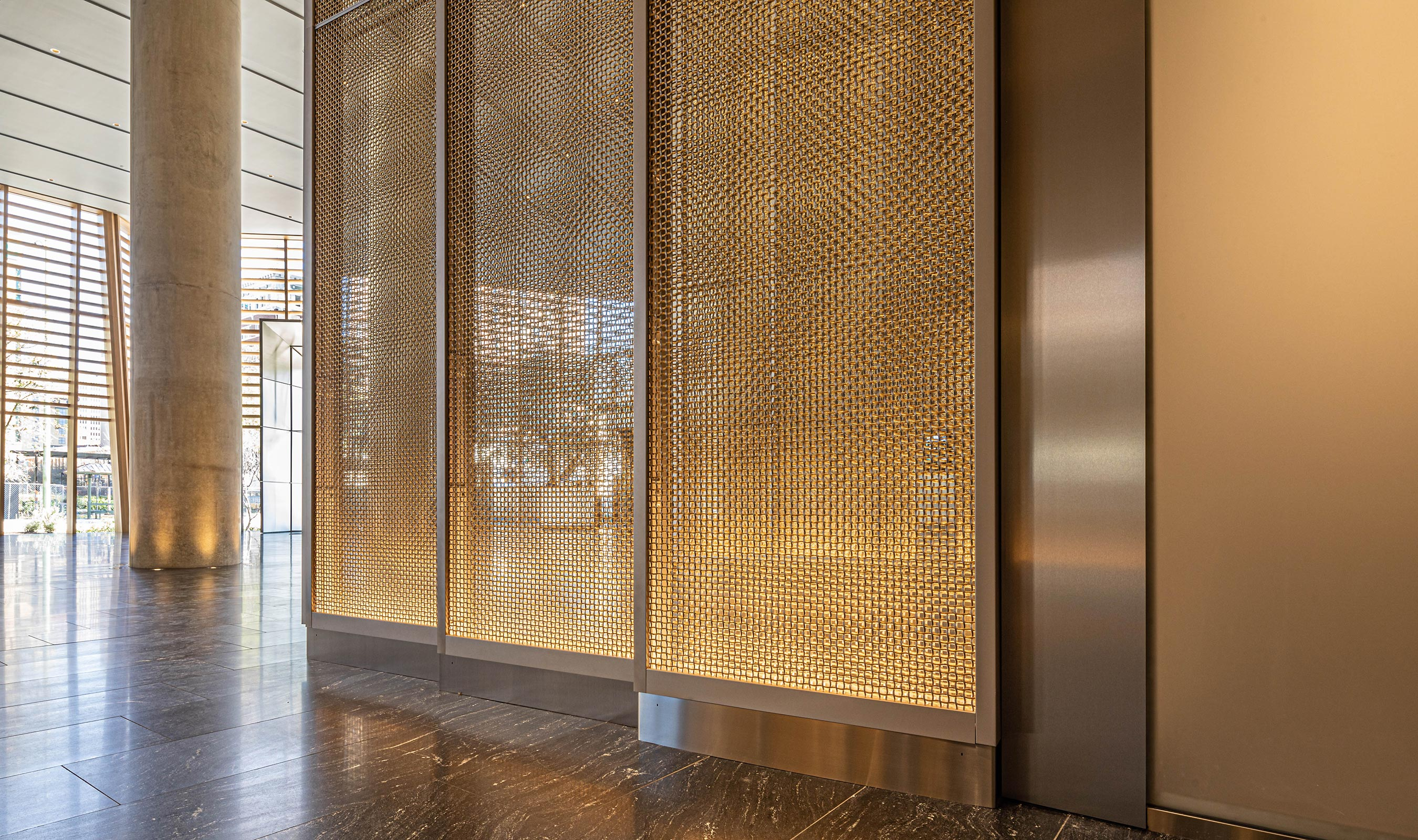 Banker Wire's M22-80 adds a sense of movement and curvature to the feature wall at Frost Tower.