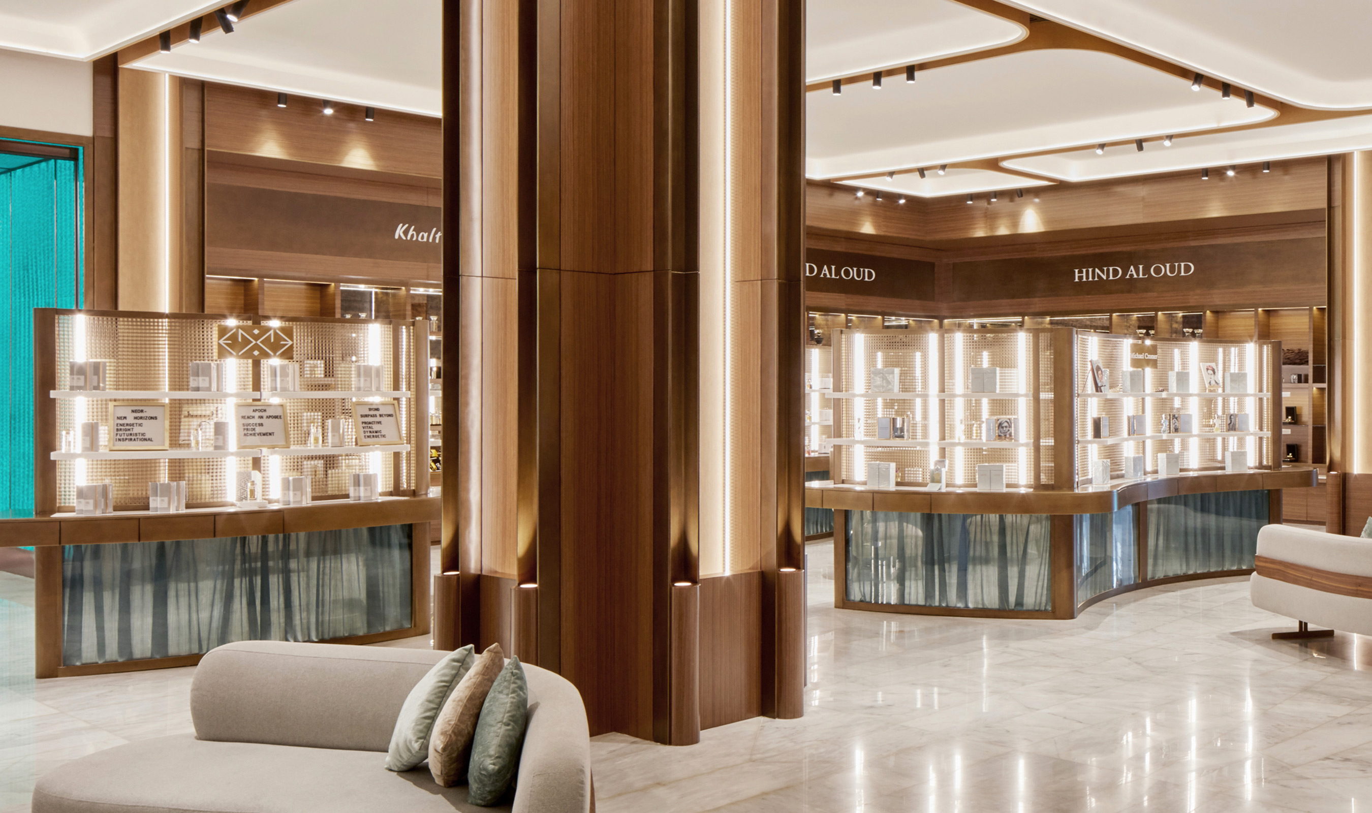 At the HOB luxury store in Dalma Mall, Abu Dhabi, Banker Wire's M22-22 woven wire mesh in brass is used at retail displays.