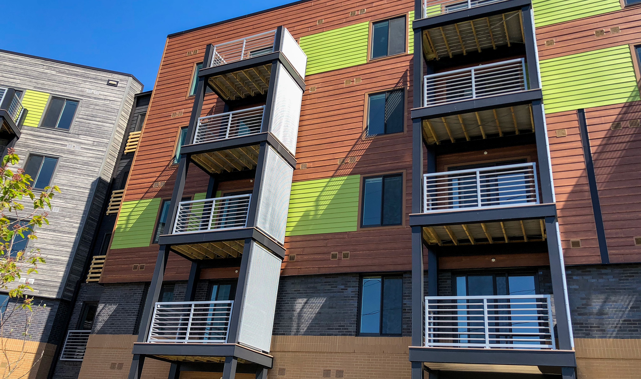 Banker Wire's LPZ-54 is used at The Apex apartments as sails, or balcony privacy screens.