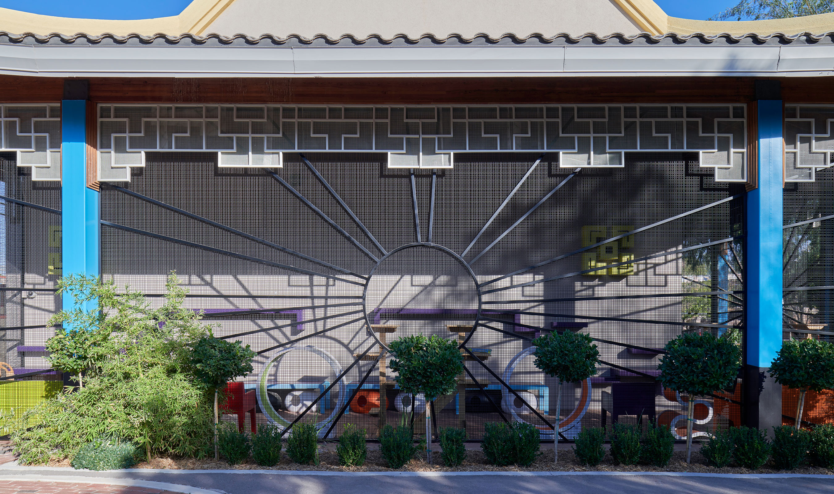 The larger percent open area of Banker Wire's SJD-2 woven wire mesh pattern allows connection between the outside and the inside of the cat adoption center.