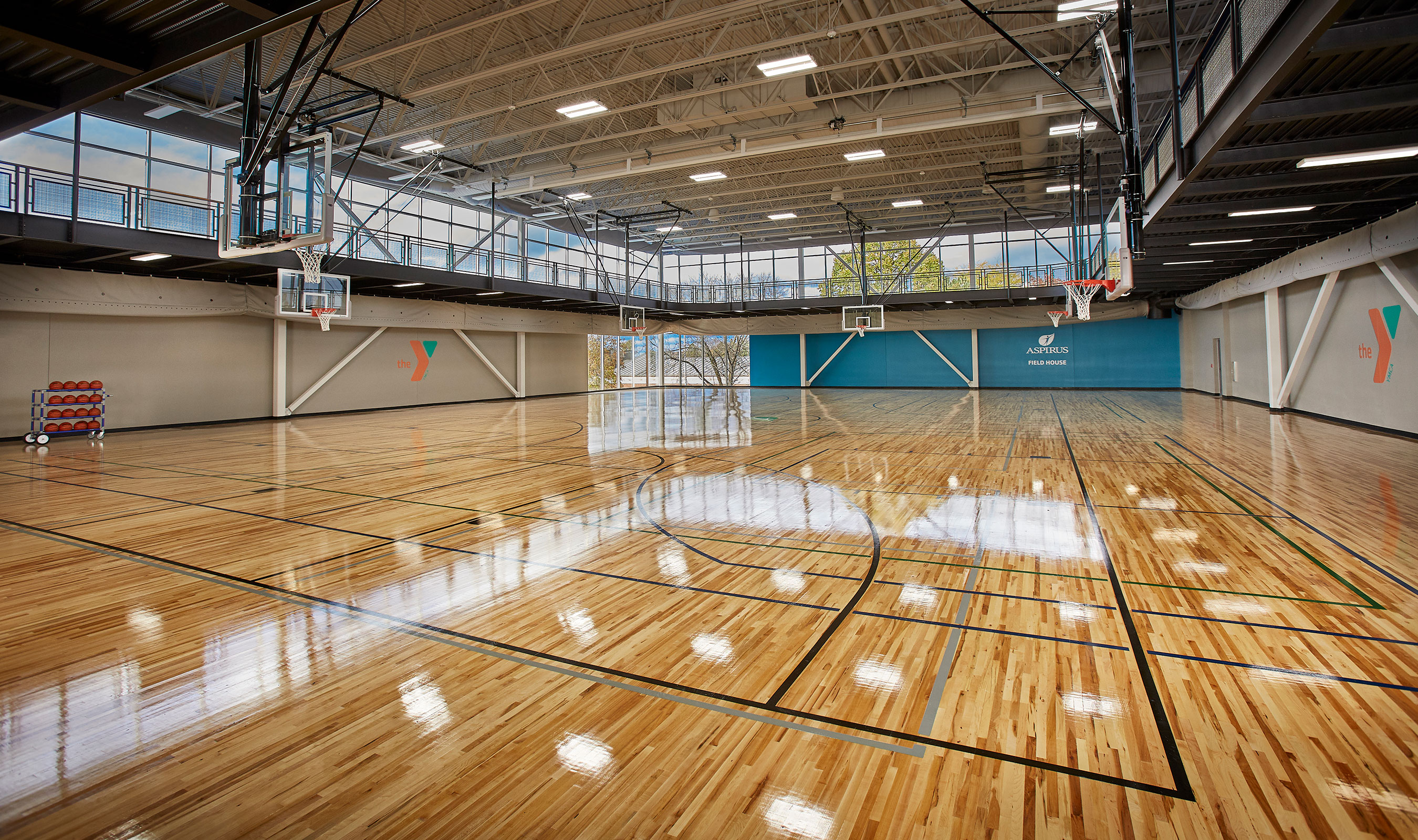 The Woodson YMCA in Wausau, Wisconsin features SJD-2, a Banker Wire woven wire mesh pattern in stainless steel.