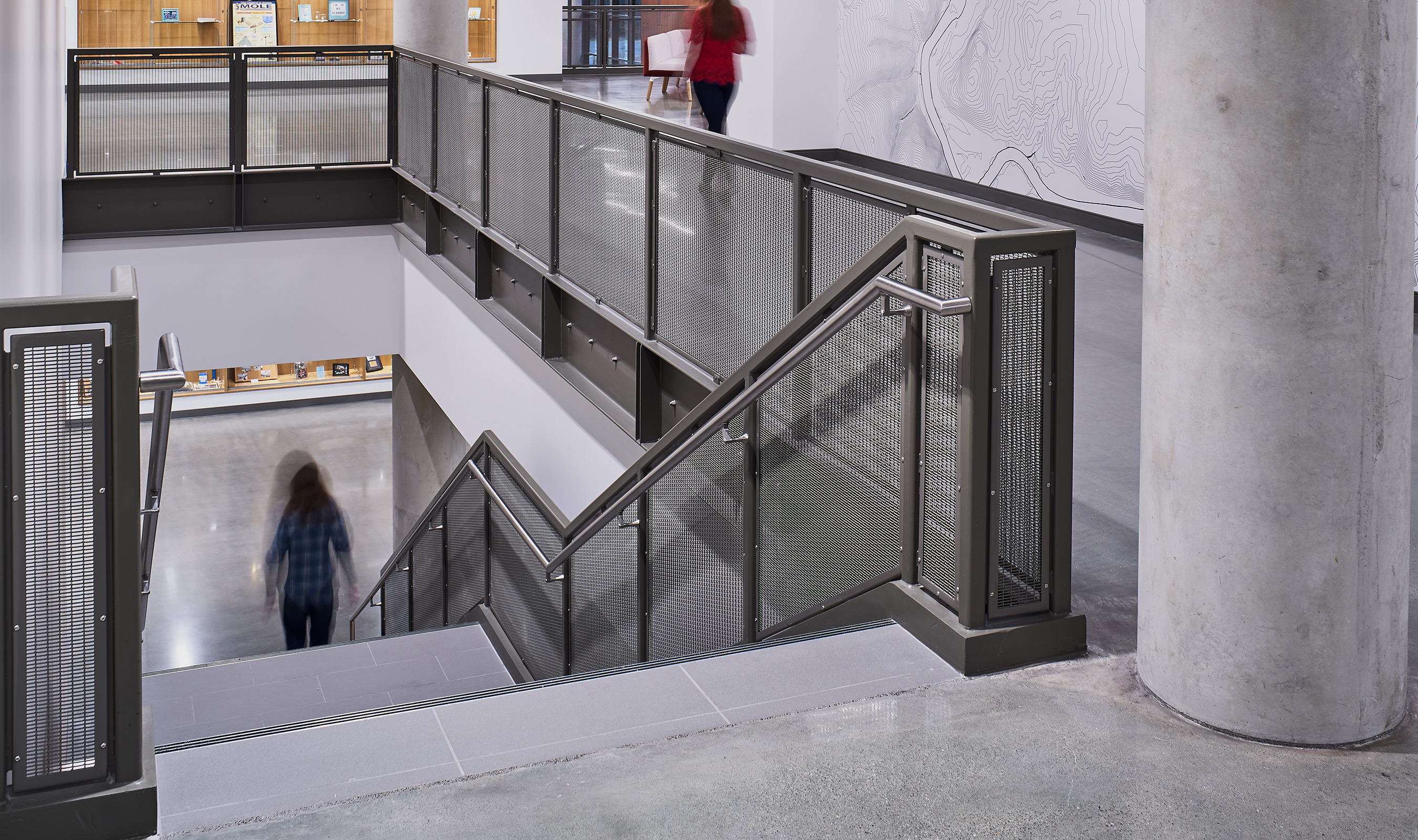 Banker Wire's woven wire mesh is featured throughout many spaces in the academy.