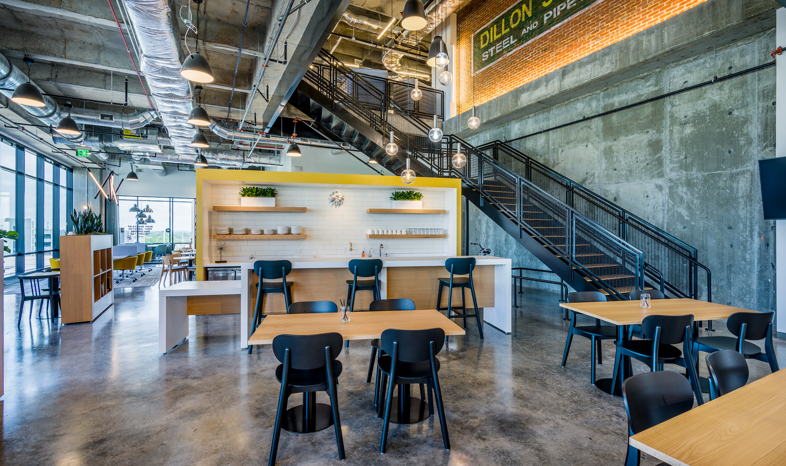 The black painted wire mesh panels compliment the industrial aesthetic of the Spaces at the Dillon.