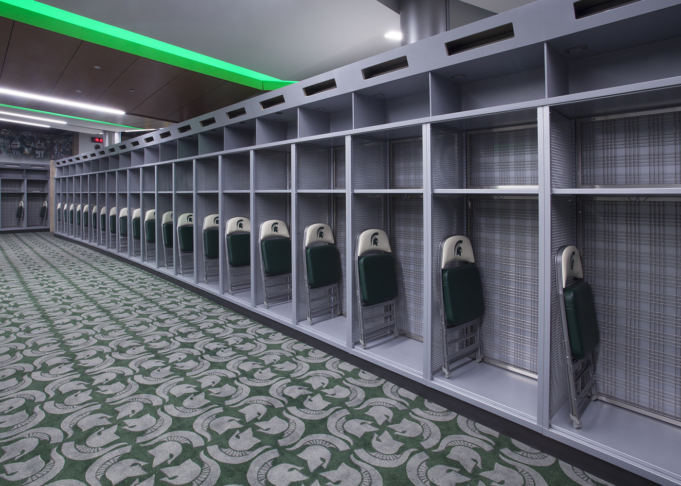 MSU lockers using Banker Wire angle iron frames