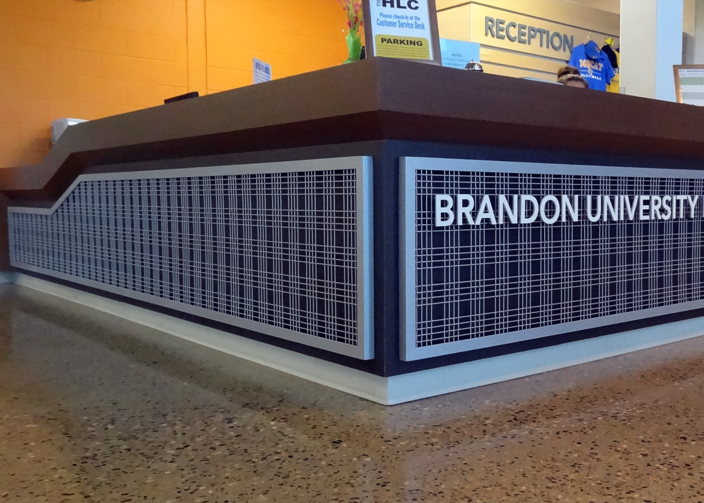 Angle Iron frame for wire mesh reception desk front