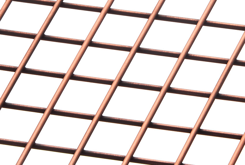 Banker Wire's decorative welded wire mesh pattern WD-268 is plated in Antique Copper.